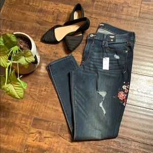 NWT Embroidered Distressed Denim